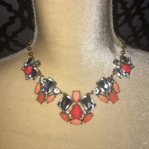 J. Crew Chunky Coral Crystal Necklace
